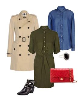 Vestido verde, Camisa de ganga, Trench-coat bege, Mala a tiracolo vermelha, Botins pretos rasos