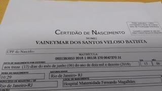 """PAI REGISTROU FILHO COM O NOME DE """"VAINEYMAR"""" PARA FAZER PEGADINHA COM A ESPOSA"""