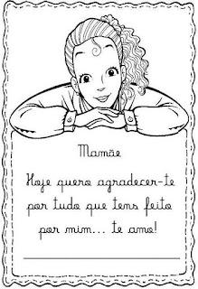 Cartão das mães para colorir