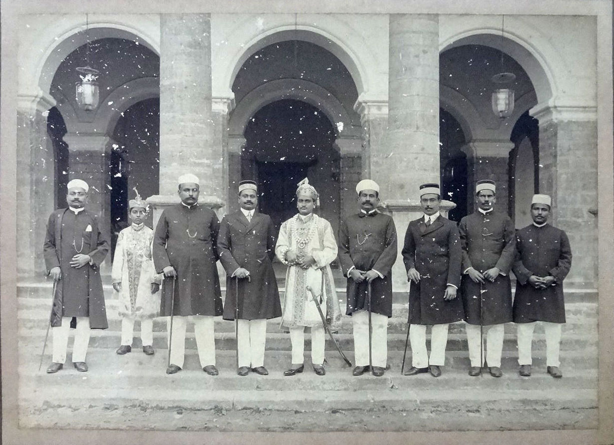 Group Photo of a Maharaja of a South Indian State