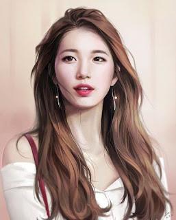 model rambut panjang artis korea