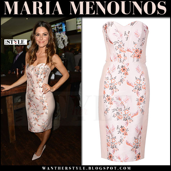 Maria Menounos in pink floral print strapless dress stella mccartney belli what she wore party outfit