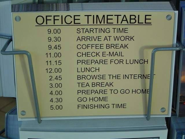 WORDLESS WEDNESDAY : OFFICE TIMETABLE