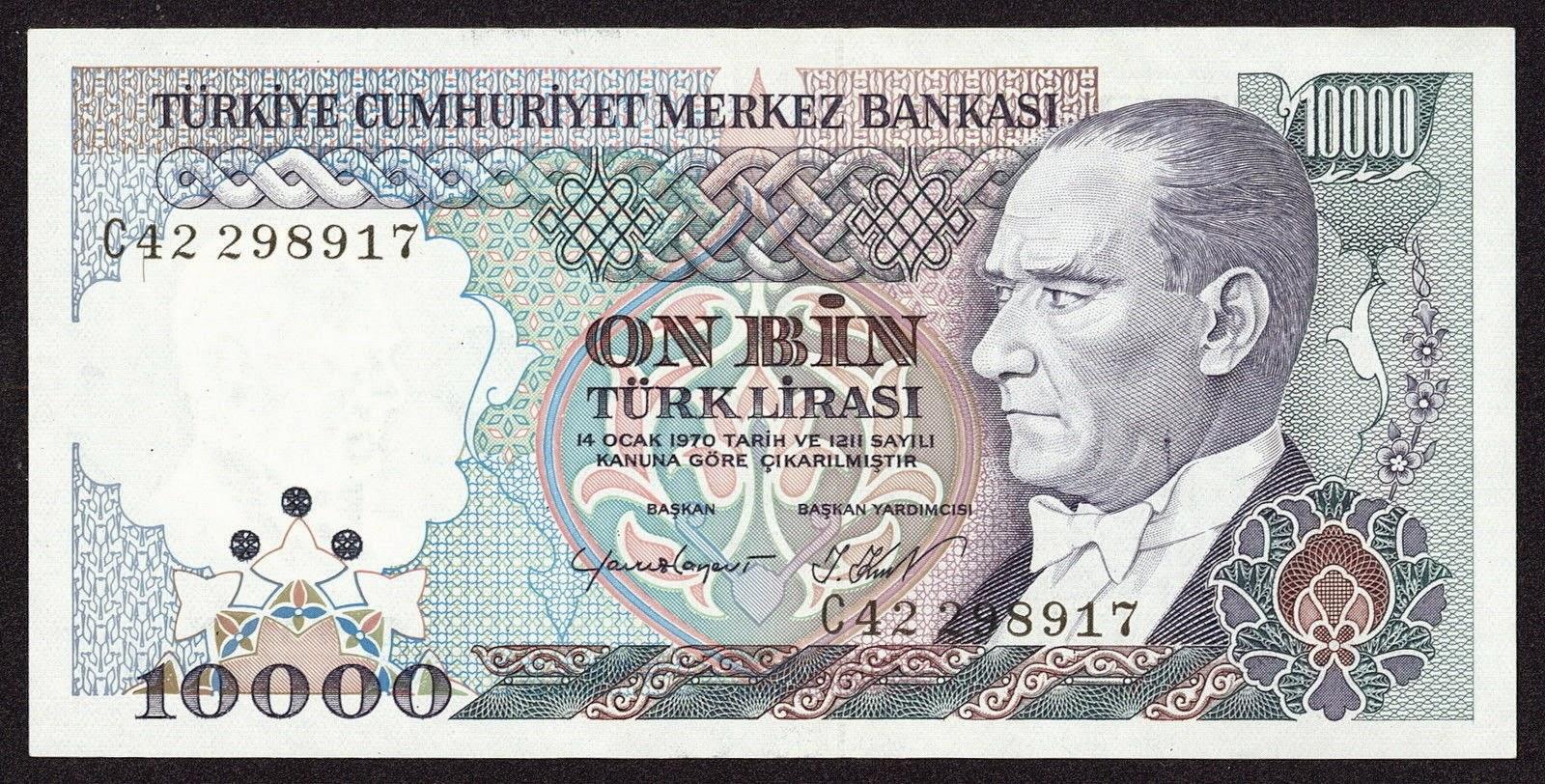 """Turkey Banknotes 10000 Turkish Lira """"Türk Lirasi"""" note 1993 Mustafa Kemal Atatürk"""