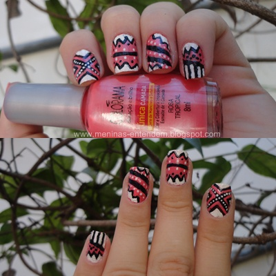 Unhas com estampa tribal