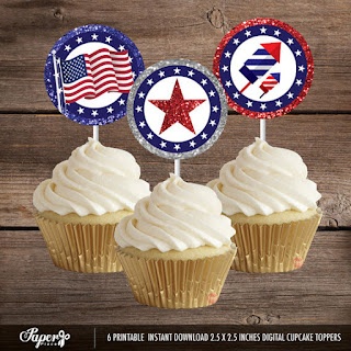 4th of July Cupcake Toppers by PaperPlaceRD on Etsy | LifeInOut.com