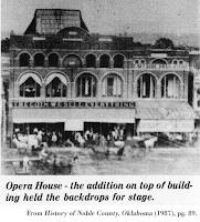 Image of Opera House, History of Noble County, Oklahoma (1987), pg. 89.