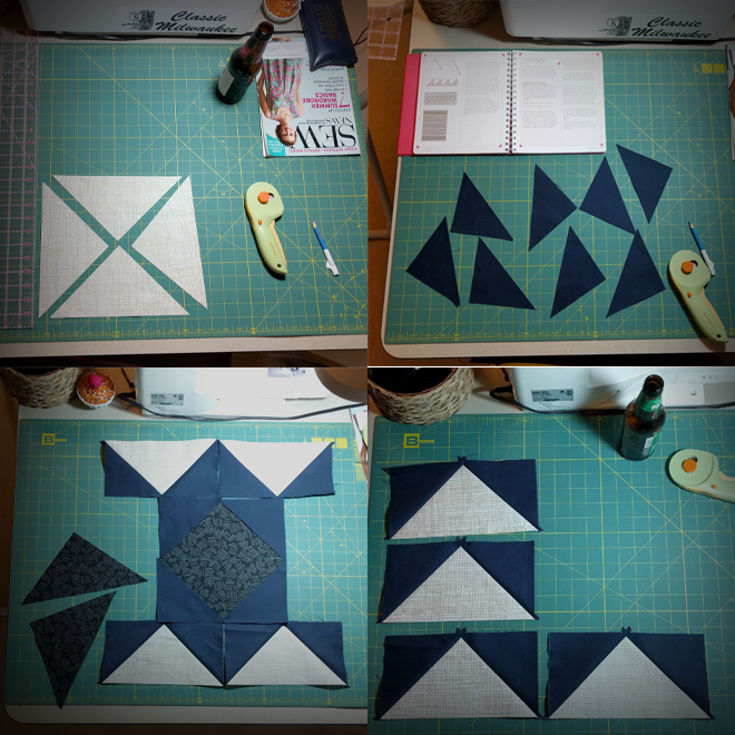 Sewing DIY pro tip: Don't be on autopilot as you cut triangles for your Spiegel flying geese pillow.