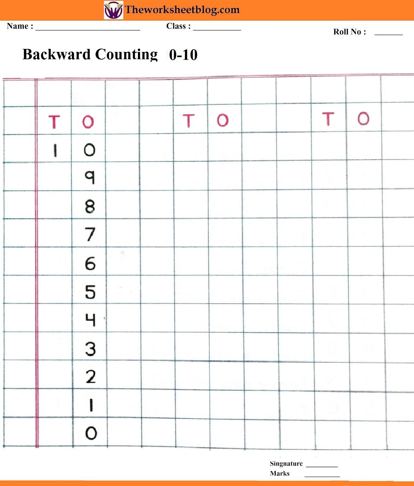 Backward Counting 50 1 Worksheets
