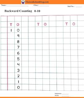 Backward counting 10-0 worksheets