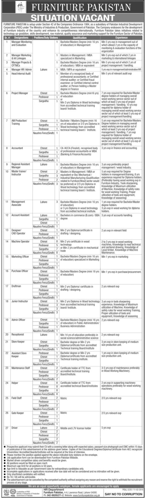 Jobs In Ministry Of Industries And Production Govt Of Pakistan 2018 for 161 Posts