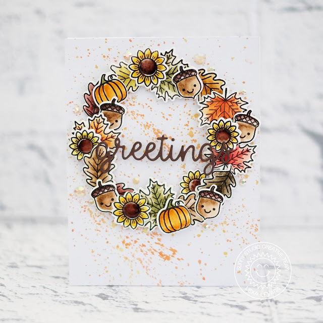 Sunny Studio Stamps: Beautiful Autumn Happy Harvest Greetings Word Die Stamped Fall Wreath Card by Lexa Levana