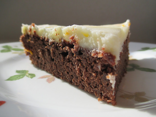 Chocolate-Lager Cake with Tangerine Dream Frosting Slice