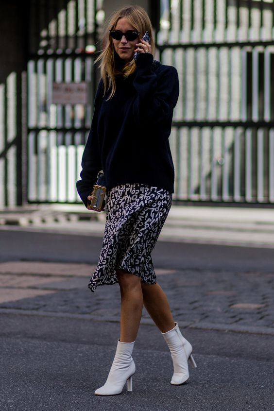 Pernille Teisbaek fashion week White Ankle Boots blogger street style