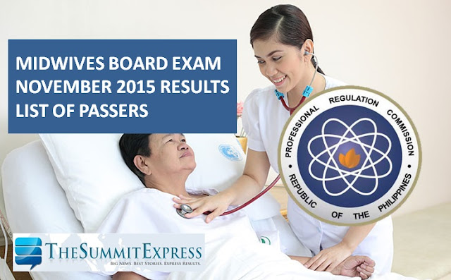 November 2015 Midwives board exam results