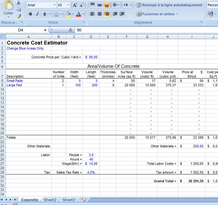 Excel concrete cost estimator civil engineering program for Concrete estimate template