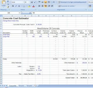 Concrete construction cost estimating with available Metric edition. Download model template.