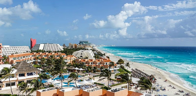 landscape of hotel building from above on the Cancun beaches