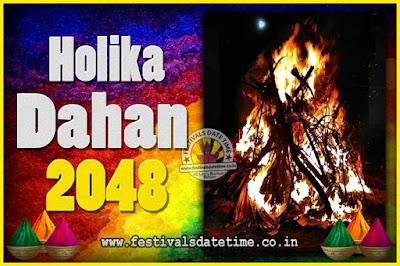 2048 Holika Dahan Puja Date & Time, 2048 Holika Dahan Calendar