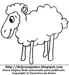Dibujo de oveja para colorear, pintar imprimir para niños. Imagen de oveja hecha por Jesus Gómez