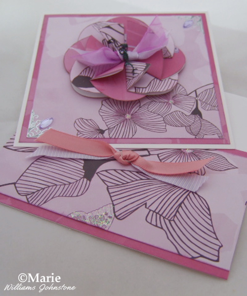 soft pink lilac handmade card envelope sating bows flowers