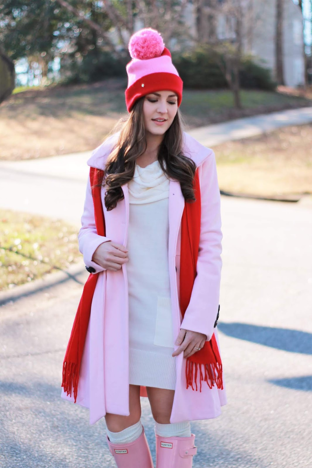 Pink and Red Outfit for Valentine's Day, Valentine's outfit, pink and red outfit, pink and red, pink coat and red scarf, hunter boots, womens fashion, cute Valentine's outfit