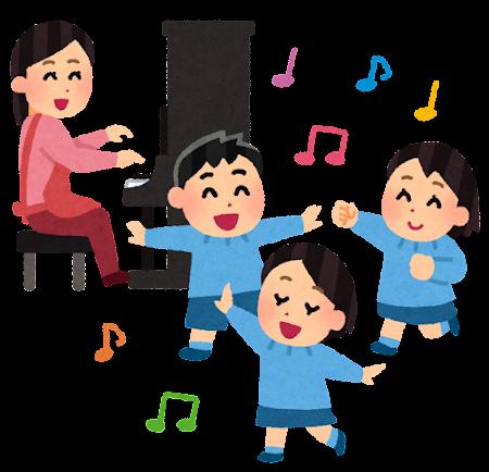 ピアノに合わせて踊る子供たちのイラスト