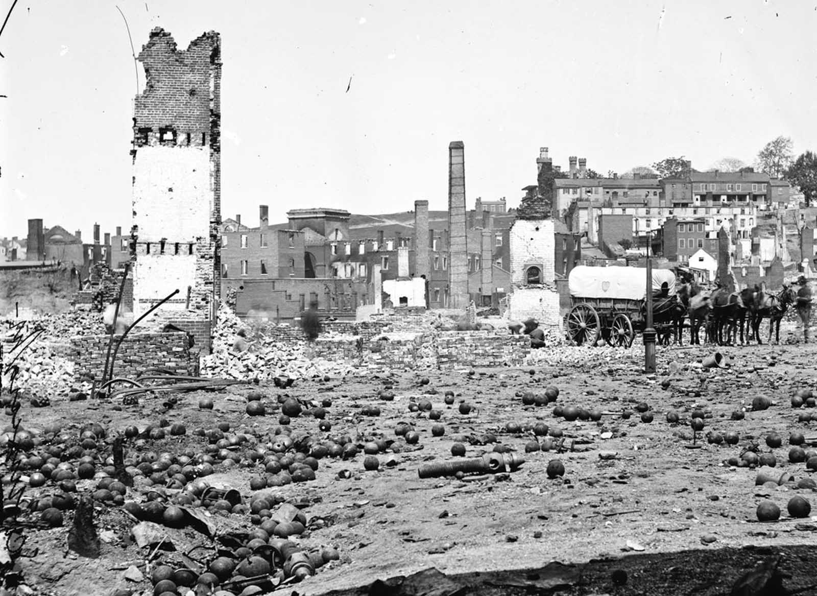 Grounds of the destroyed Arsenal with scattered shot and shell in Richmond, Virginia, in 1865.