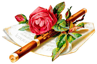 flower rose sheet music flute antique illustration image download