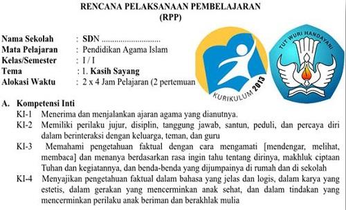 RPP PAI Kelas 1 Semester 1 SD/MI Kurikulum 2013 Edisi Terbaru