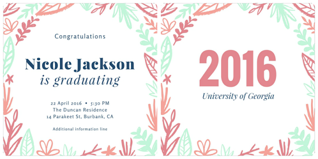 design idea Mint and coral foliage Graduation Announcement