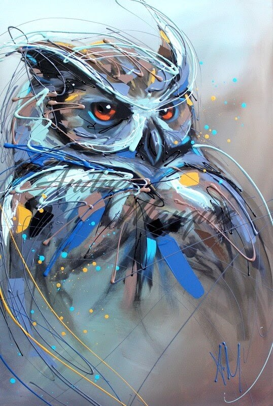 14-Owl-Andrea-Marqui-Bright-Paintings-of-Animal-Portraits-www-designstack-co