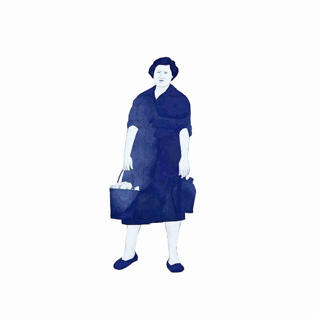 azulejo, ceramica azul, mujer, botijo