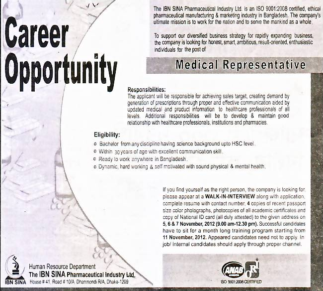 Jobs Barta: The IBN SINA Pharmaceutical Industry Ltd. Post