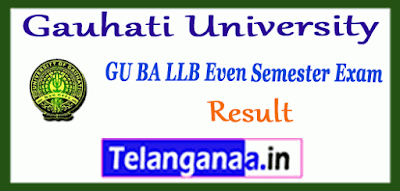 Gauhati University 2nd 4th 6th 8th 10th BA LLB Semester Result