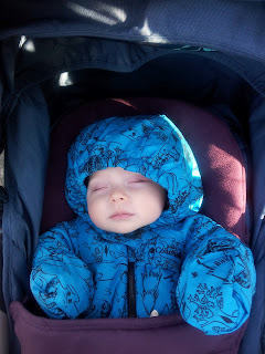 sleeping baby, baby snowsuit