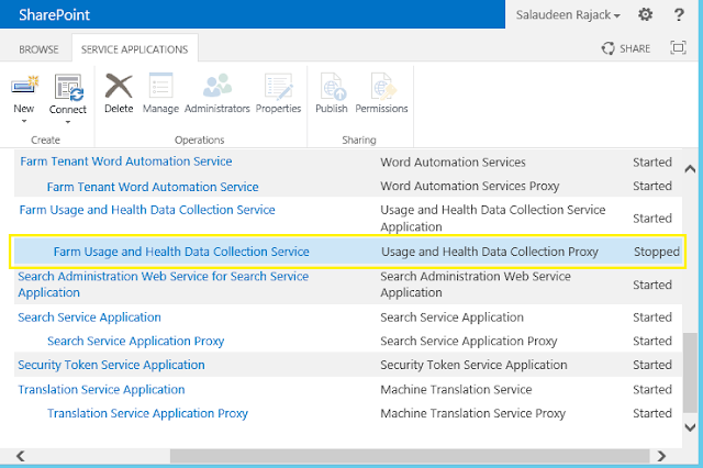 Usage and Health Data Collection Proxy Stopped in SharePoint 2013