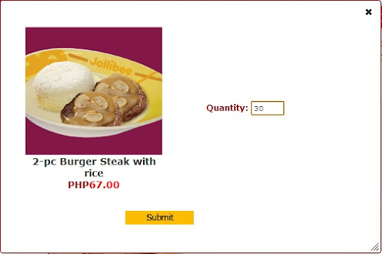 2-piece burger steak for Jollibee party.