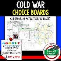 American History Digital Learning, American History Google, American History Choice Boards, Cold War