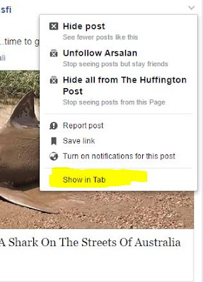 Facebook post in tab view, facebook notification in tab