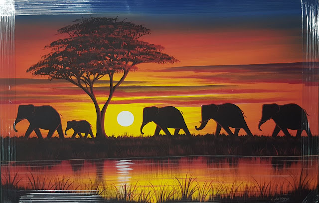 Paintings Canvas African Curio Elephant Sunset