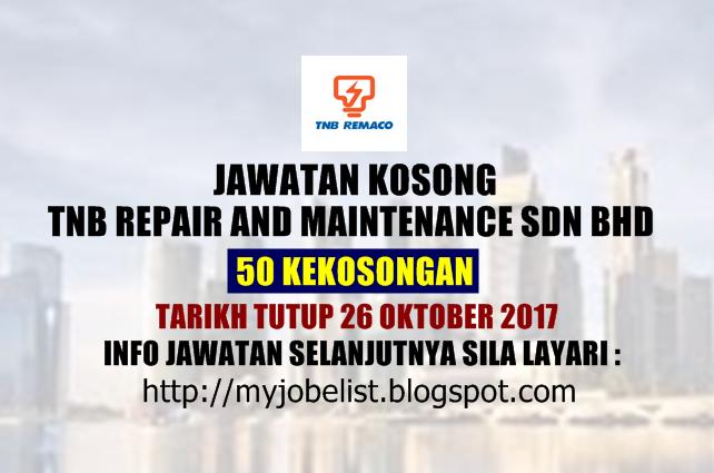 Jawatan Kosong TNB Repair and Maintenance Sdn Bhd - 26 Oktober 2017