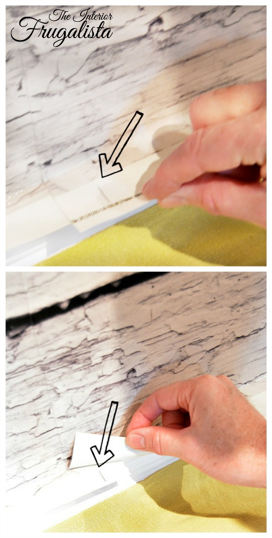 Line up guides on the White Barnwood EasyOff Mural Panels for Photo Backdrop/InteriorFrugalista.com
