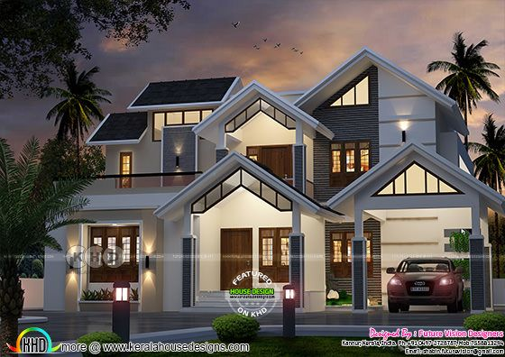 Sloping roof style modern 2855 sq-ft house plan