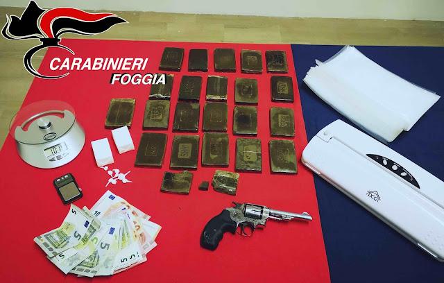 In casa con cocaina, hashish e una pistola. Giovane incensurato arrestato a Lucera dai Carabinieri