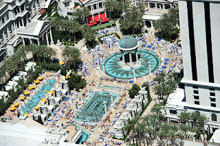 Aerial shot of the Caesars Palace pool