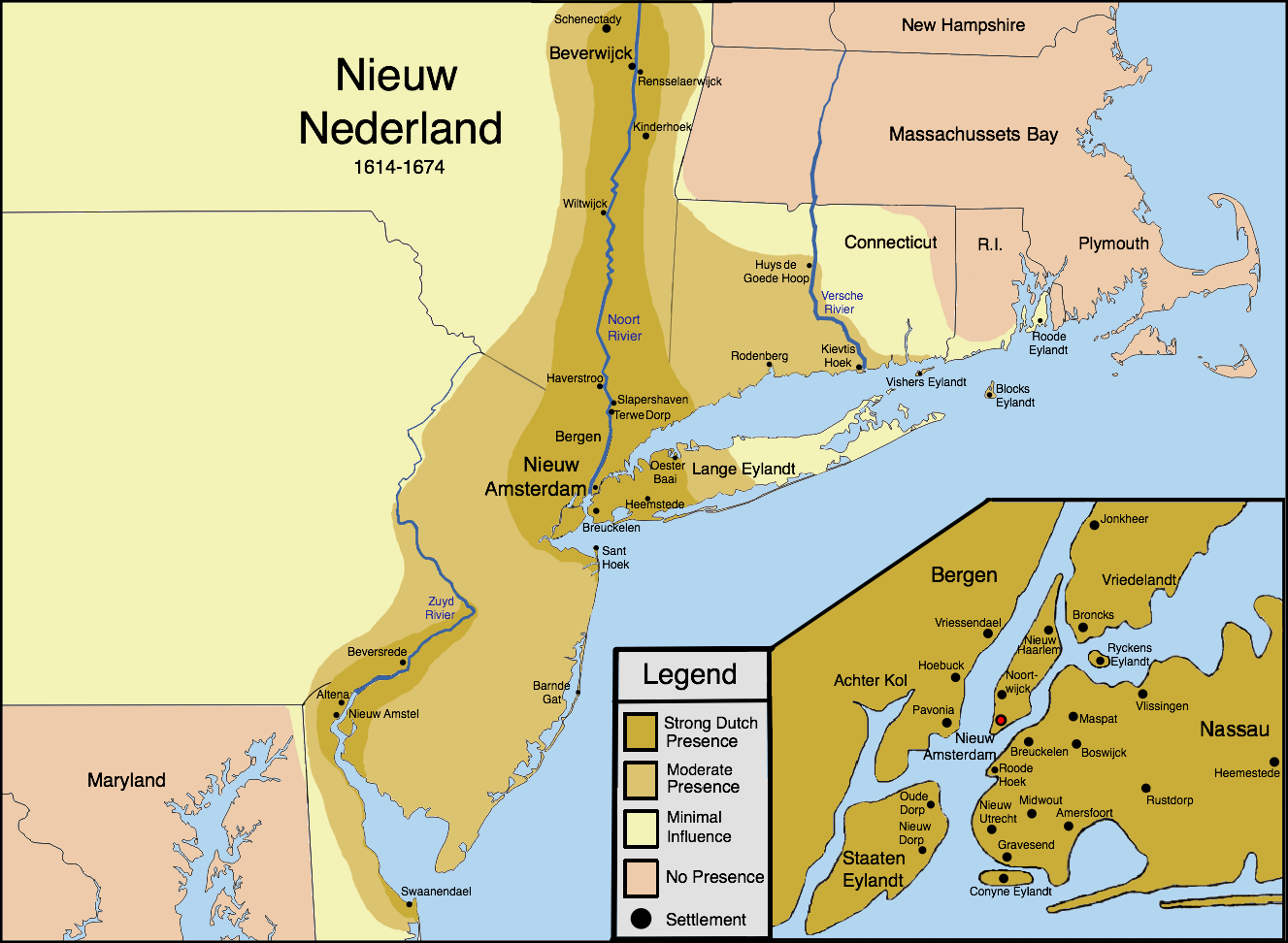 New Netherland settlements & areas of influence
