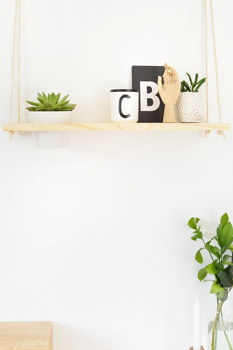 how to make a hanging plant shelf