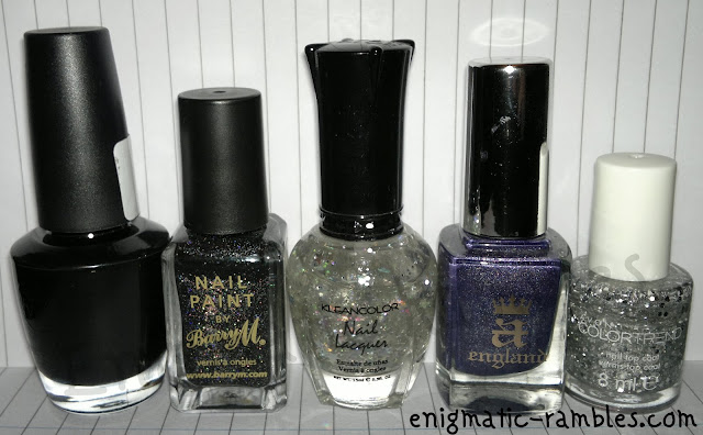 w7-black-barry-m-multi-glitter-kleancolor-silver-star-31-a-england-lady-of-the-lake-avon-color-trend-plated
