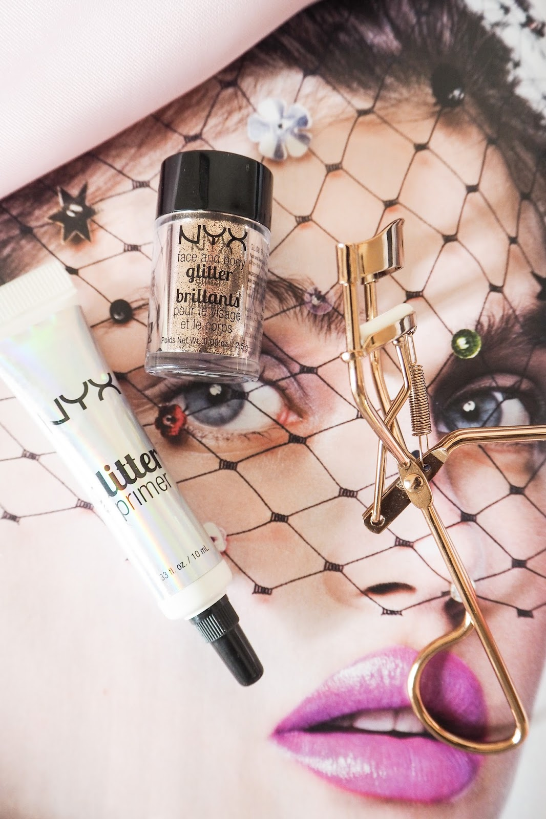 NYX Glitter Primer and Face & Body Glitter in 08
